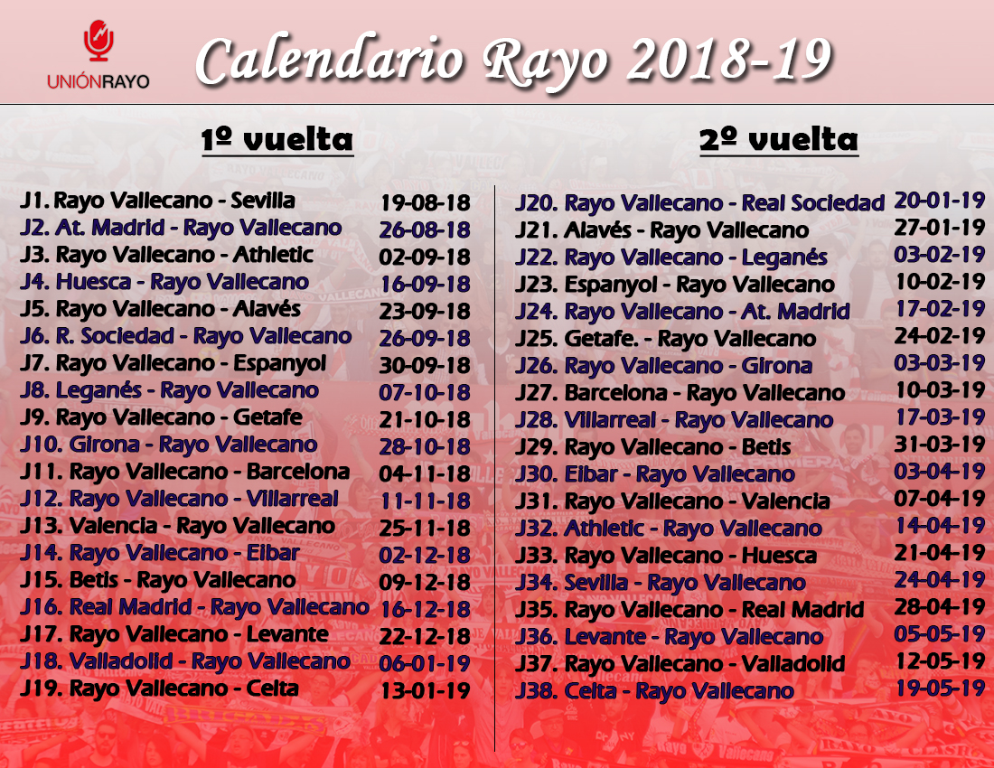Liga Bbva Calendario Y Resultados.Calendario Del Rayo Vallecano En Laliga Santander 2018 2019