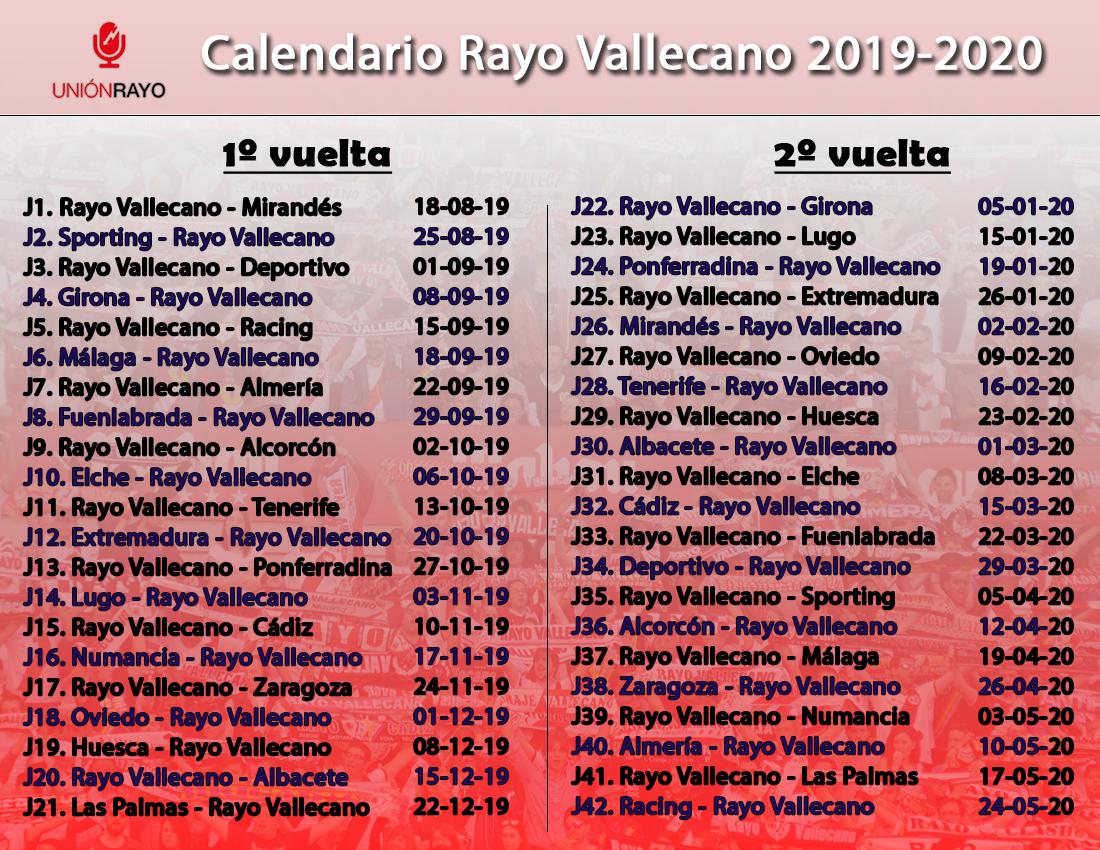 As Calendario Liga 123.Calendario Liga 2019 2020 Para El Rayo Vallecano Union Rayo