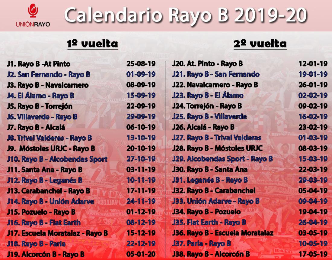 Calendario Tercera Division.Calendario Liga 2019 2020 Para El Rayo B En Tercera Union Rayo
